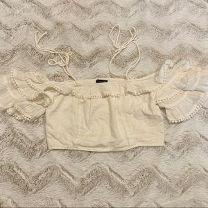 American Eagle Cropped Cold Shoulder Ruffle Top